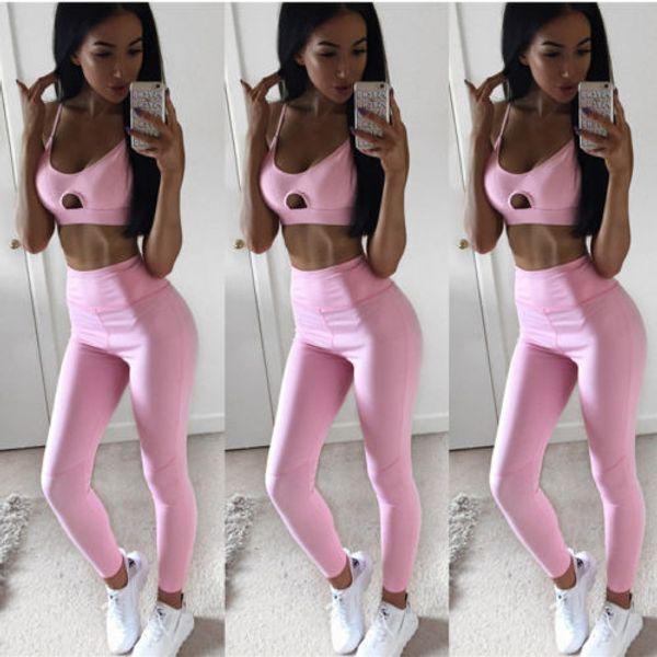 2019 Pure Pink Women Yoga Sport Two Piece Set Women Sexy Yoga Set Sport Bra Paded Top+Long Pants High-Quality Jogging Suits