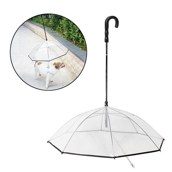 Pet Dog Transparente Taschenschirme Folding Puppy Umbrella Gehen Sie mit der Leine des Hundes