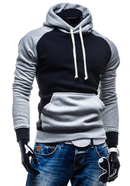2018 New Style Fashion Men's Winter Hoodies Slim Fit Hooded With Hat Outwear Warm Patchwork With Pocket