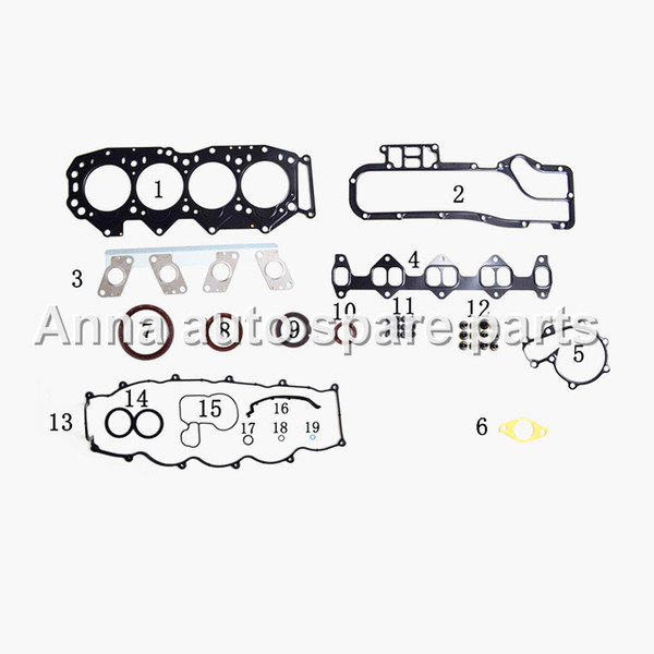 best selling WL engine overhaul kit for Mazda 2499cc 2.5TD WLT WL-T 1998- gasket set 8ASX-10-271 auto spare parts