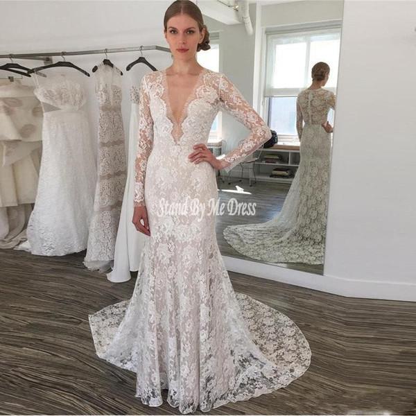 Graceful Lace Wedding Dresses Deep V Neck Sheer Long Sleeves Beach Bridal Dress Illusion Back Covered Buttons Wedding Vestidos 2019