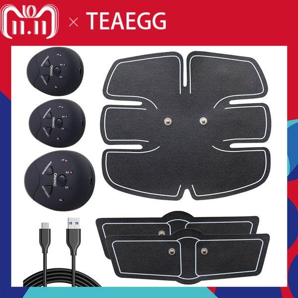 Dropshipping USB şarj EMS Eğitmen Karın Kas Stimülatörü Elektrik Selülit Masajı Vücut Şekillendirme Masajı Ince Kemer Aracı Y181122