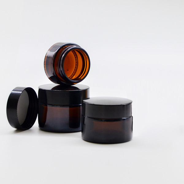 Amber Glass Jar Pot Skin Care Cream Bottiglia riutilizzabile Cosmetic Container Makeup Tool con coperchio nero per l'imballaggio da viaggio