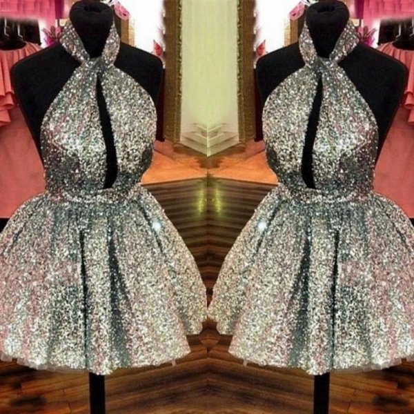 Sparkly Silver Full Sequined Homecoming Dresses 2018 Halter Sexy Backless Short Prom Dresses Hollow Front Formal Party Dresses Cheap