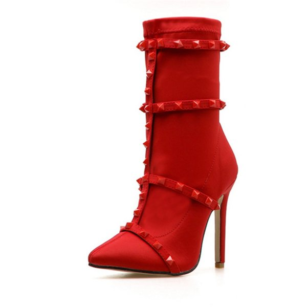Women's boots spring autumn fashion pointed toe 11CM fine high heel beautiful rivet decoration shoes sexy red black women's boot