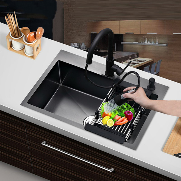 top popular Matt Black single kitchen sink above counter or udermount vegetable washing basin sink kitchen black stainless steel pia black sink 2021