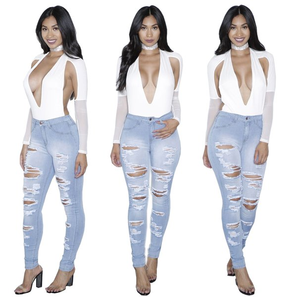 Wholesale Women jeans High Strength Water washed skinny jeans Ladies fashion New Style Leisure Bottom Jeans 216#