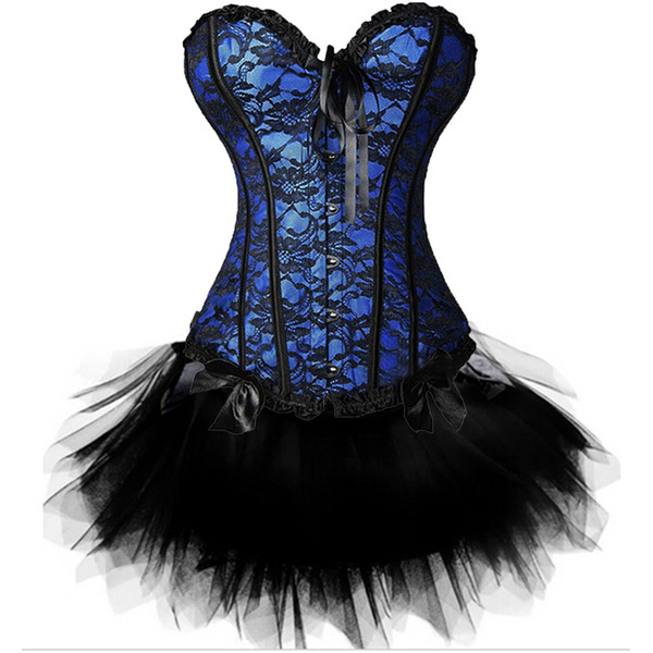 Sexy Burlesque Overbust Corsetto Bustier Top con Mini TuTu Gonna Fancy Dresses Costume Sexy Gothic Corsets Dress Plus Size 6XL