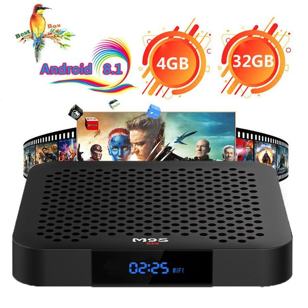 M9S J2 Android 8.1 TV Box Rockchip RK3328 4GB 32GB 1080P H.265 Google Player Store Netflix Youtube 4K UHD video IPTV streaming Media Player