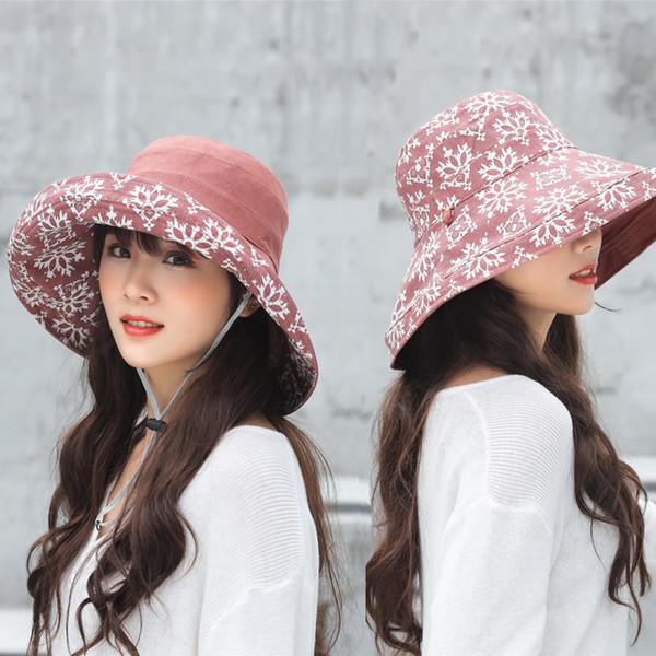 Fashion lady original Brand New South Korean Summer SunBucket Hat Protection Fishing Bucket Hats Reversible Foldable Cap