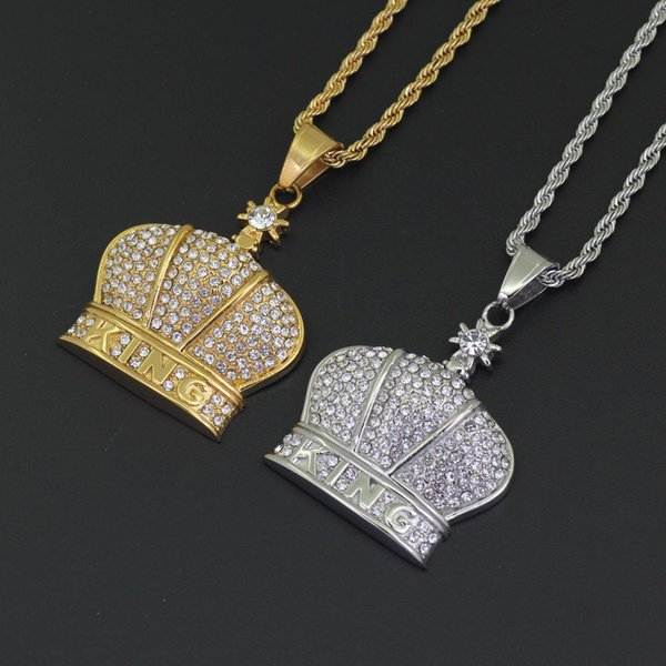 Stainless Steel Necklace Custom Crown Pendant Hip Hop Accessories Charm and Free Rope Chain Gold Silver Cubic Zircon Jewelry