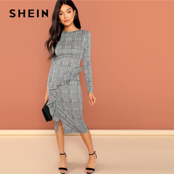 großhandel wochenende beiläufige graue rüsche detail split plaid rundhals langarm dress 2018 frühling frauen herbst elegantes dress