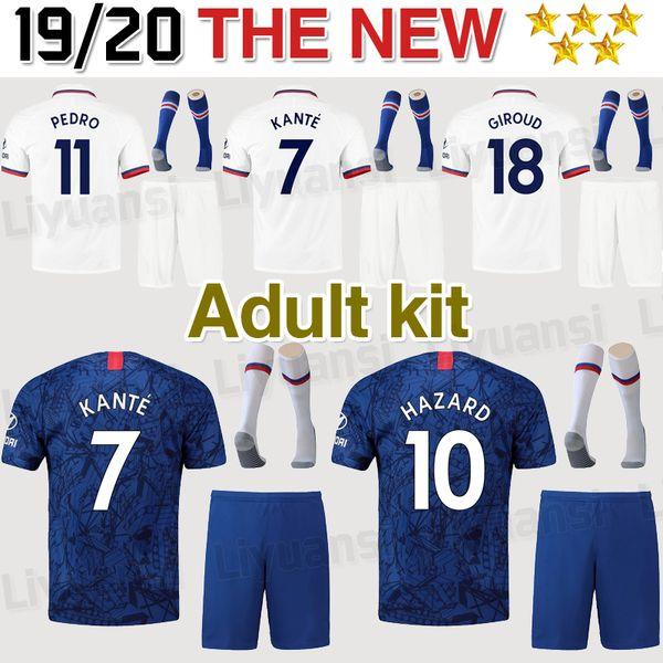 19 20 10 PERIGO Adulto Kit de Futebol Jersey 2019 Casa Azul 7 KANTE 9 HIGUAIN homens Camisas De Futebol WILLIAN Futebol terno vendas uniformes