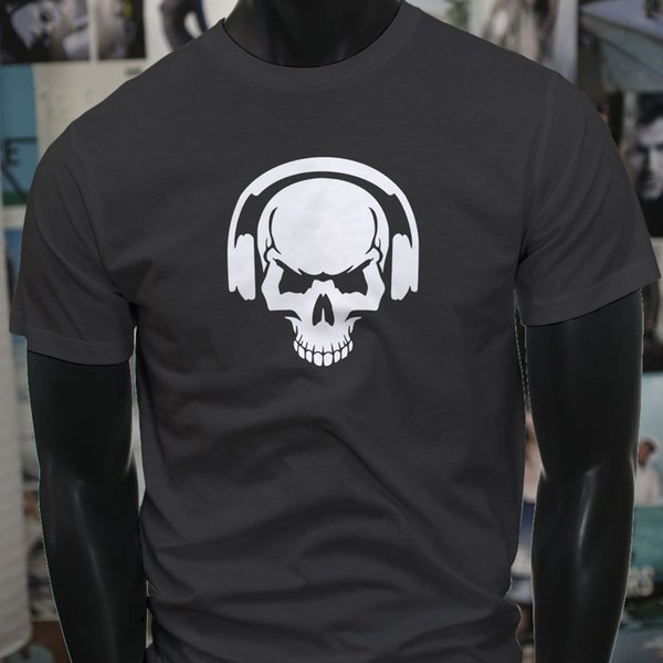 Dj Skull Headphones Trap Music Rap Club Mix Mens Charcoal T-Shirt T Shirt Custom Short Sleeve T-Shirts For Men 2018 New 3d Printer