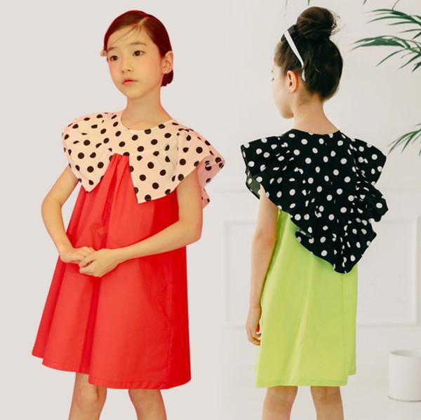 Las niñas grandes visten a los niños lunares falbala vestido de chaleco de solapa de los niños de color de contraste vestido de princesa de algodón 2019 verano nuevos niños ropa F6227