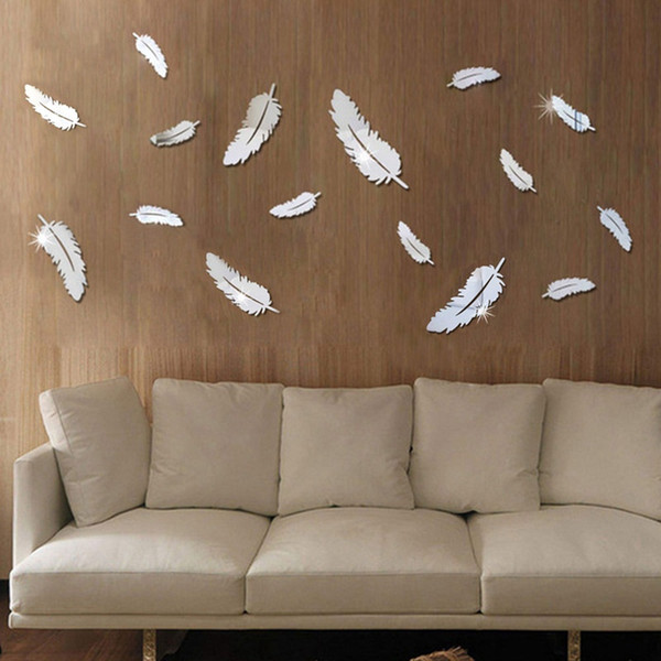 Feather 3D Mirror Wall Stickers Home Decor Art Decal Wall Stickers for Kids Room Living Room Decorating Mural Decoration