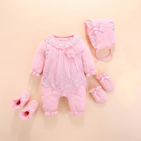 baby girls winter clothes warm red cotton clothes for kids newborn rompers suits jumpsuits 0-3 month