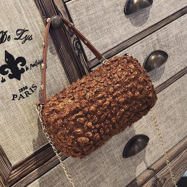 Angel2019 Bag Small Lint Woman Lamb Wool Cylinder Handbag Chain Rivet Oblique Satchel