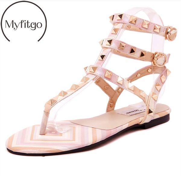 Myfitgo Plage Tongs Sandales Femmes Été Sandales Plates Femmes Casual Rivet Solide Boucle Sangle En Plastique Gelée Chaussures pour Filles