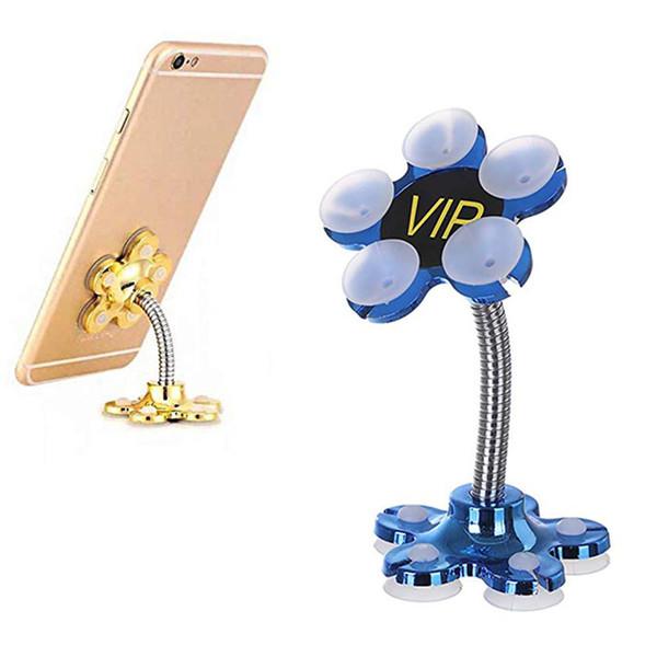 Nuovo supporto per telefono cellulare con supporto a ventosa Rotazione a 360 gradi con supporto per telefono cellulare regolabile con ventosa a doppio fiore
