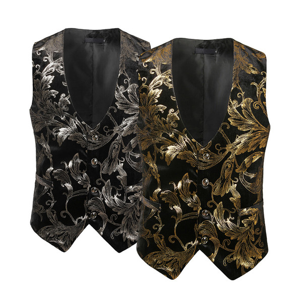 Christmas Vest.2019 Men Coat Winter Fashion Formal Business Casual Gold Stamping Printing Vest Waistcoat Tops Christmas Vest From Carawayo 21 96 Dhgate Com