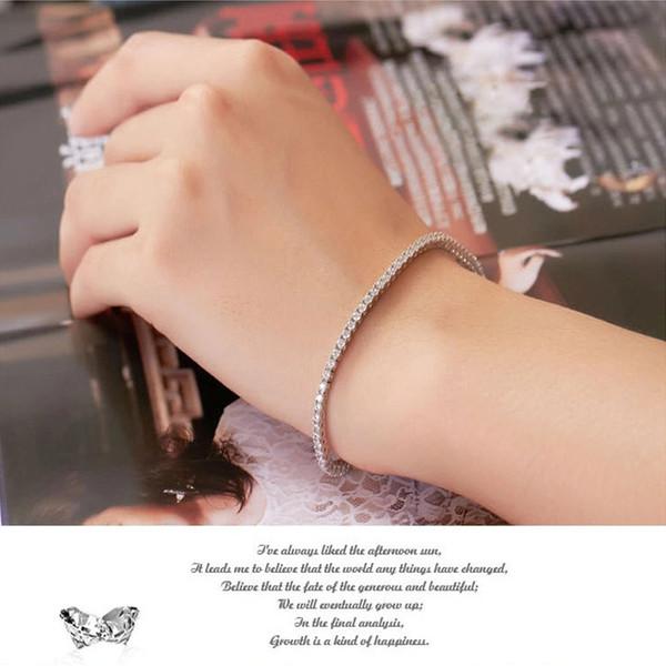 2,0 mm / jeder Großhandel Armband Luxus Schmuck Sterling Silber Armband Zirkon Frauen 18 Karat Weißgold vergoldet Tennis Braut