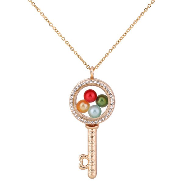G1293 Pearl Beads Cage Gold Circular Key With Rhinestone Magnetic Glass Floating Locket Pendants Women Charms Necklace