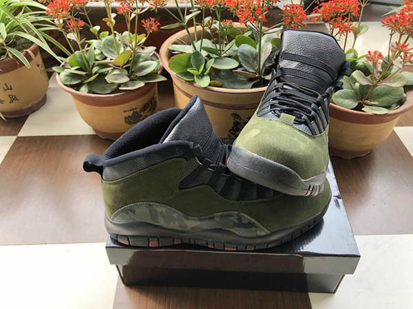 Basketbol 10 Ayakkabı Erkek Spor Ayakkabı Chicago Armygreen Atletik Cny Sneakers Çöl Kedi Tinker Çimento 10 s Tasarımcı Ayakkabı Eur 40-47
