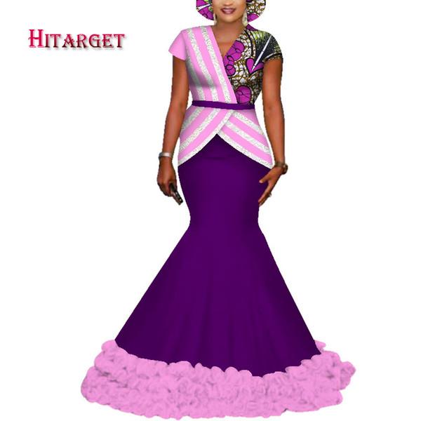 africa abiti per le donne top + gonna 2 pezzi vestito in pizzo e cera stampa cotone vestiti tradizionali africani per le donne partito WY3719