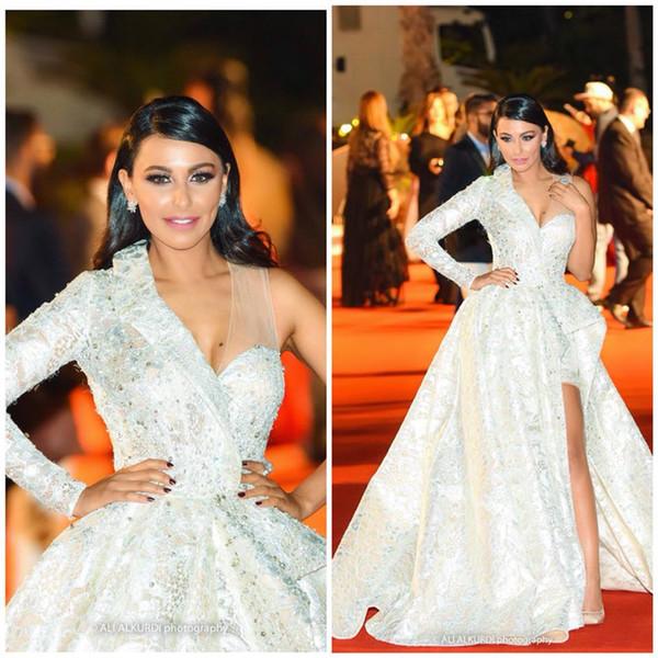 7d01aca7fc Elegant One Shoulder Evening Formal Dresses Long 2019 Side Split Sequin  Beaded Dubai A Line Lace