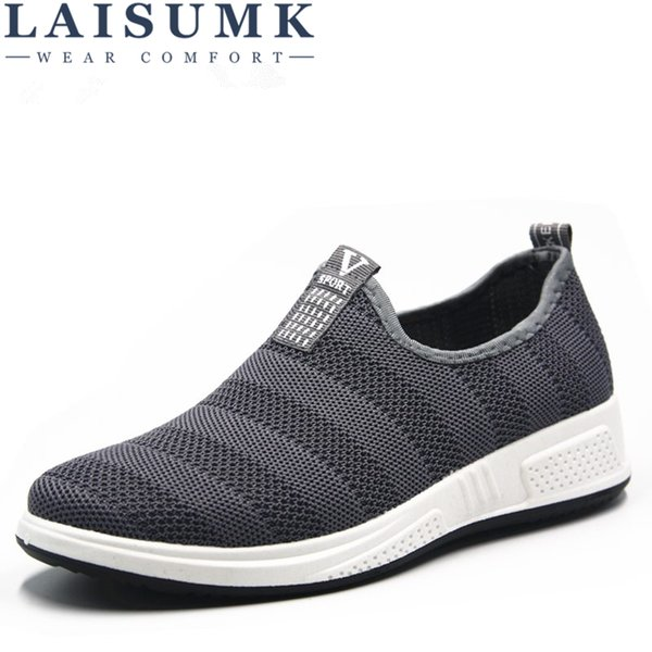 2019 laisumk brand shoes men tenis masculino sneakers chaussure homme tenis feminino breathable loafers casual slip-on rubbe