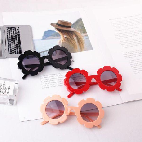 Nuevas gafas florales para niños Marco de flores de plástico Decoración Espejo Lente circular Bebé Moda Versión coreana de gafas de sol versátiles