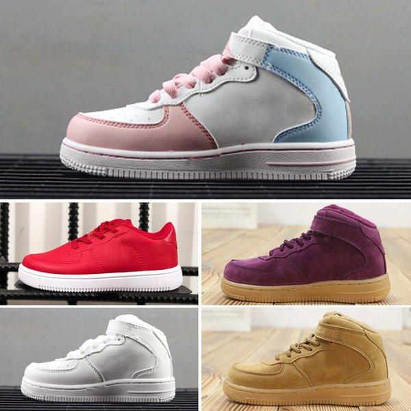 Nike air max force fly Blanco Clásico Niños Fuerzas Triple Blanco Negro Rojo Corte bajo Niños Niños Chicas Deportes Zapatillas Zapatillas Un niño pequeño Chaussures