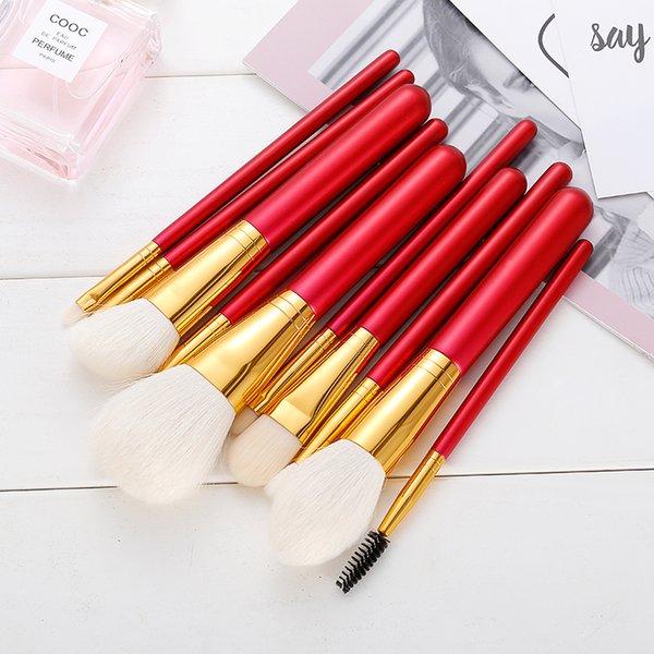 Brocha portátil de maquillaje 10 conjuntos de pó solto pincel de fundação pincel de sombra do olho macio fiapo iniciante conjunto completo de ferramentas de maquiagem