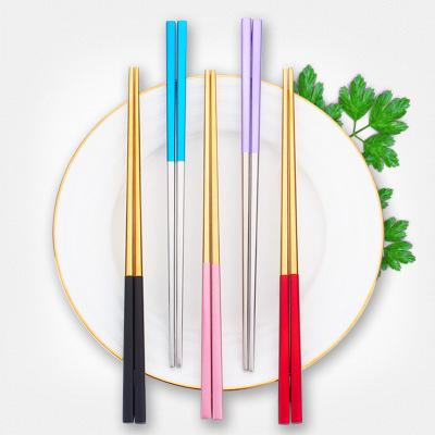 10 Colors Titanium Plated 304 Stainless Steel Chopstick 23.3cm BBQ Chopsticks Kitchen Accessorie Tools Gadgets Flatware for Party