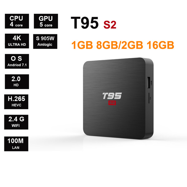 T95s2 Android7.1 Amlogic S905W Quadcore Suppot 4k 1GB8GB 2GB16GB 2.4G WIFI Smart Tv Box