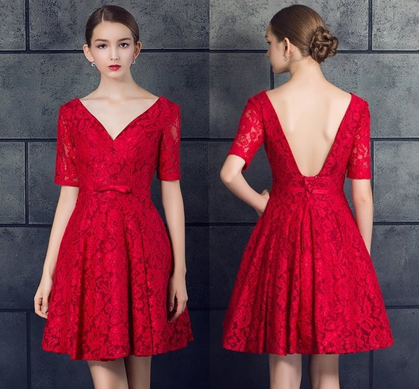 New Red Lace Deep V-Neck Formal A-Line Evening Dresses Short Fashion Halter Strap Small Dresses Prom Party Gowns DH068