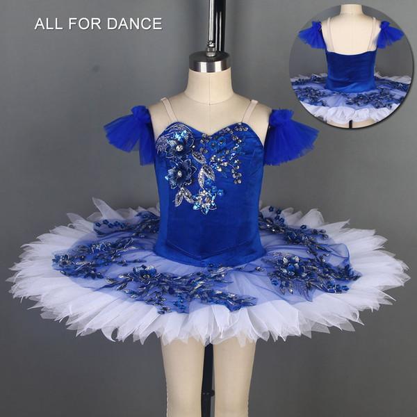 Blue Velvet Top Mieder Pre-professionelle Balletttanzkostüme Pancake Tutu klassische Ballett-Tutu-Tanzkostüme