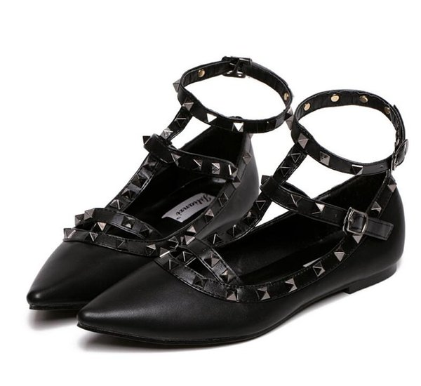 New rivet pointed toe women color block patent leather gladiator flats sexy stud women ballet flat shoes flats 39 40