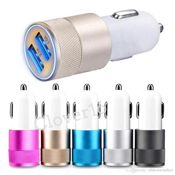 Caricabatteria da auto universale in metallo Dual USB Caricatore da viaggio a 2 porte per iphone samsung nokia