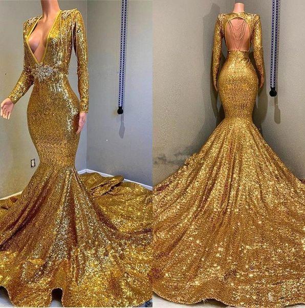 2019 Gold Funkelnde Lange Ärmel Pailletten Meerjungfrau Ballkleider Tiefer V-Ausschnitt Perlen Steine Backless Sweep Zug Party Abendkleider BC0577