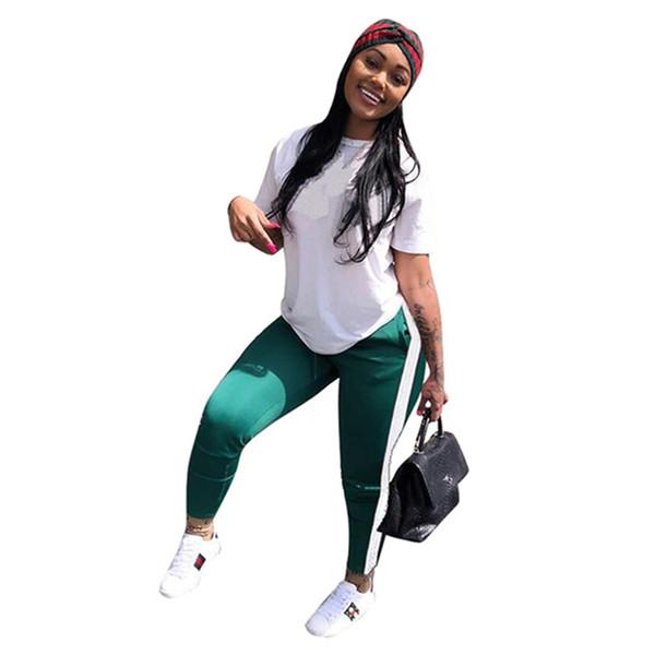 top popular Brand Designer women two piece set Sportswear Short Sleeve t shirt leggings sportswear Summer Clothes Tracksuit Sweatsuit Plus size S-2XL 2019