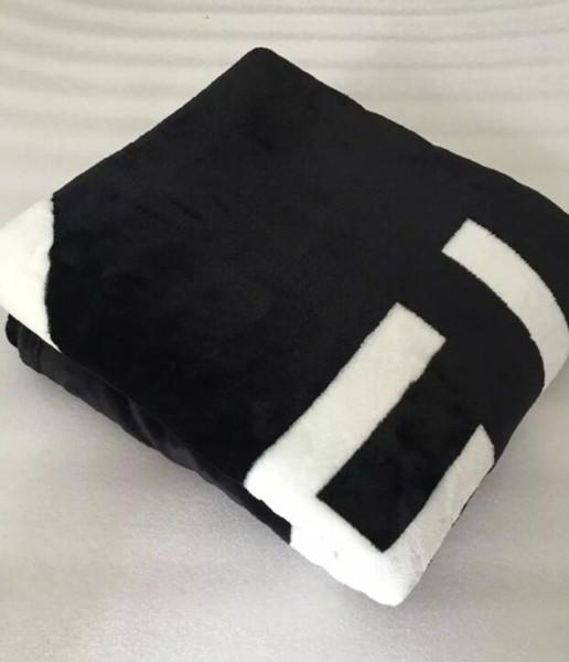 New brand black white throw flannel fleece blanket 150x130cm with du t bag c tyle logo for travel home office nap blanket