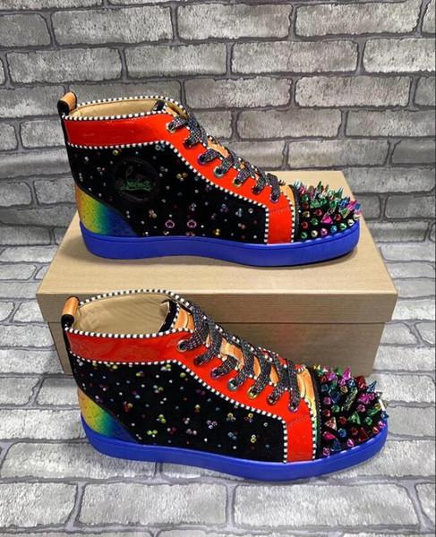 Nueva gama alta de diseño personalizado de fondo rojo zapatilla de deporte casual zapatos de uñas completos zapatos de rodillo baratos mocasines de fondo plano 35-45