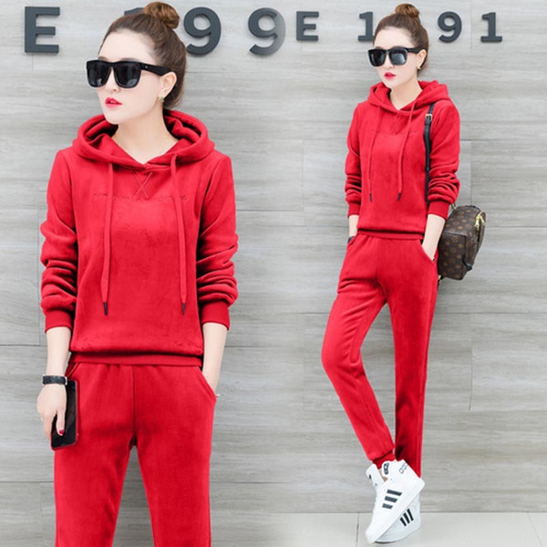 YICIYA red Velvet 2 piece set tracksuits women warm outfit sportswear co-ord set plus size big hooded top pant suits clothes