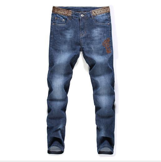trendy designer mens jean classic limited Medusa embroidery jeans street popular straight leg pants mens biker jeans joggers fitness jean