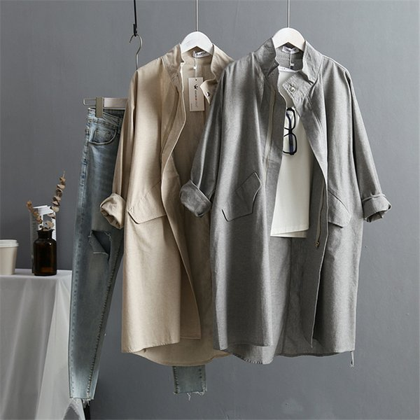 VogorSean Summer Cotton Linen Women's Trench Coat 2019 New Korean Version Long sleeved Large size Loose Women Trenchs Coats T190831