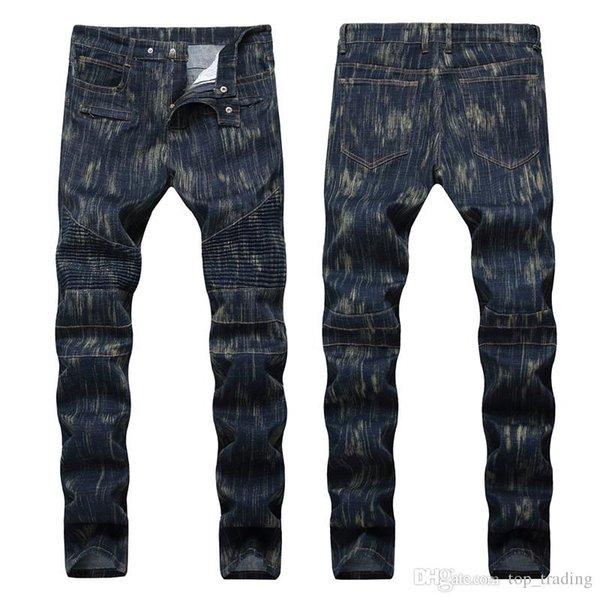 Calças de brim Rasgado Angustiado dos homens Marca de Moda Designer de Mens Jeans Slim Motociclista Moto Motociclista Dos Homens Denim Calças Jeans Hip Hop Dos Homens 12