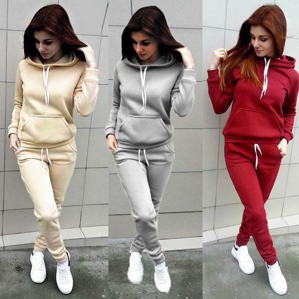 2019 heiße Frauen Hoodies Sport Tops Hosen Trainingsanzug Sweatshirt Trainingsanzug Jogging Set Damen Lässig Feste Kapuzenpulli Hosen