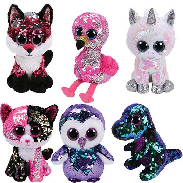 Nuevo estilo de 14 grandes ojos brillantes unicornio muñeca pingüino búho de peluche de juguete muñeca animal, moda c regalo de cumpleaños T2G5028